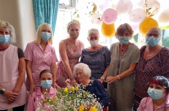 Una - celebrates her 101st birthday at Friary Care in Weymouth
